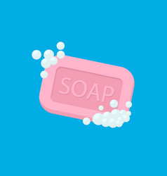 bar soap with foam isolated on white vector image