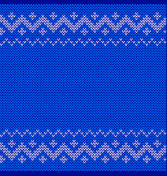 beautiful knitted blue jacquard seamless pattern vector image