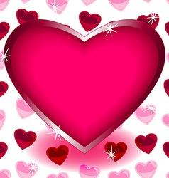 Big heart over seamless heart shape pattern vector