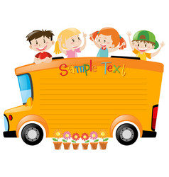 board design with students riding on bus vector image