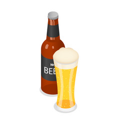 bottle and glass of beer icon isometric style vector image