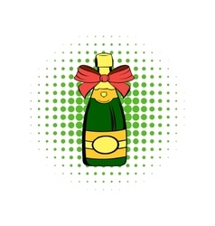 Bottle of champagne comics icon vector