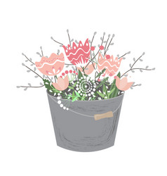 bouquet of spring flowers in bucket isolated on vector image
