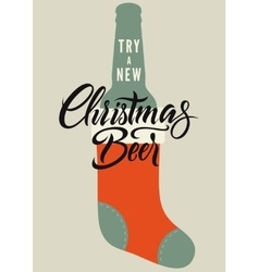 Calligraphic retro Christmas Beer poster vector