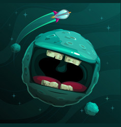 Cartoon fantasy blue monster planet with giant vector