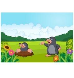 Cartoon happy mole in forest vector