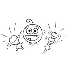 Cartoon of baby making noise with two rattles vector