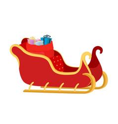 Cartoon sleigh of santa claus with gift bag vector
