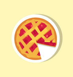 Cherry pie with cut piece of delicious cake vector