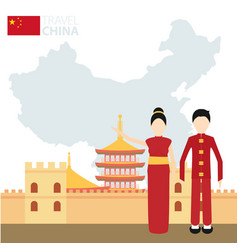 chinese couple in national costumes on a vector image