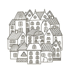 Circle shape pattern with houses for coloring book vector image