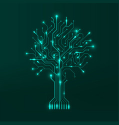 Circuit tree on green background modern hardware vector