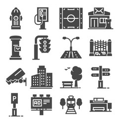 city design elements icons set vector image