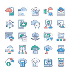 cloud services icons vector image