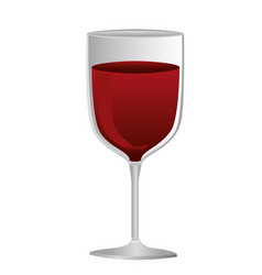 Colorful silhouette of glass of wine with red wine vector