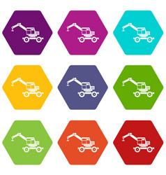 Crane truck icon set color hexahedron vector