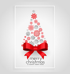 creative christmas tree made with snowflakes vector image