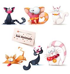 cute funny crazy cat vector image