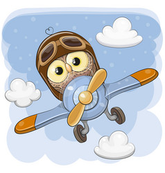 Cute owl is flying on a plane vector