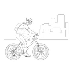 cyclist outline side view in a helmet on a city vector image