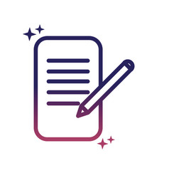 document pen writing social media gradient style vector image