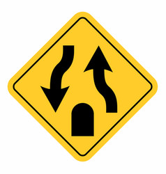 double lane end traffic sign vector image