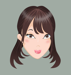 Emoticon calm asia girl vector