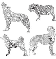 Ethnic decorated dogs vector
