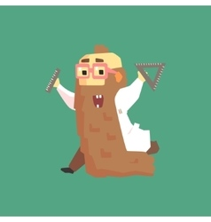 Funny scientist in lab coat with long bead running vector