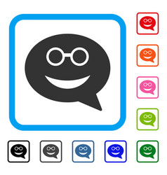 Glasses smiley message framed icon vector