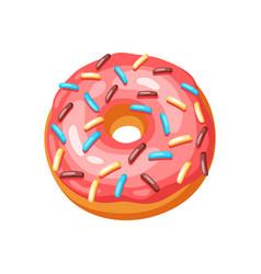 glaze donut with sprinkles vector image