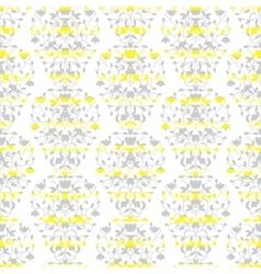 Grey on yellow stripes elegant border in damask vector image