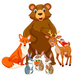 group cute animal vector image