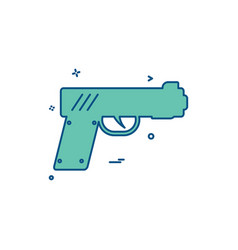 gun pistol police weapon icon design vector image