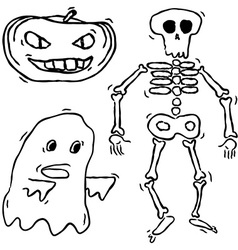 Hand drawn spooky creatures vector
