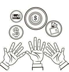 Hand money financial sketch design vector