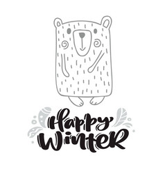 happy winter calligraphy lettering text xmas vector image