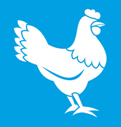 Hen icon white vector