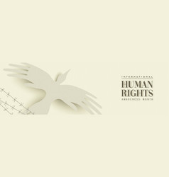 Human rights web banner of people hand bird vector