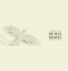 Human rights web banner people hand bird vector
