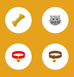 icon flat pets set of puppy collar cat necklace vector image