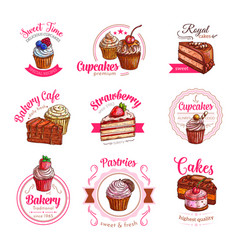 Icons of pastry dessert cakes and cupcakes vector