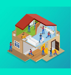 isometric house renovation template vector image