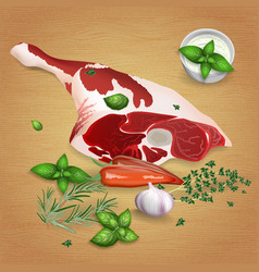 Leg of lamb with tasty sauces and spices vector