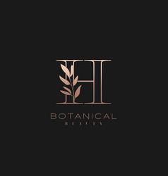 Letter h botanical elegant minimalist signature vector