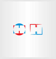 letter logo h icon blue red logotype vector image