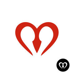 Letter m heart style logo vector