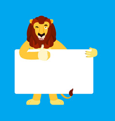 lion holding banner blank wild animal and white vector image