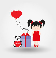 lovely girl valentine s day icon flat vector image
