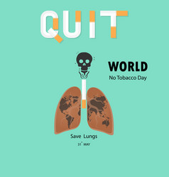 Lung and cigarette icon with stop smoking logo vector